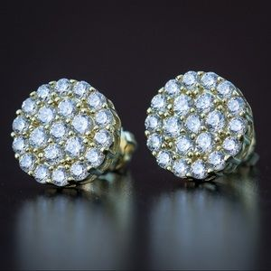 Iced Out Cluster Diamond Stud Earrings